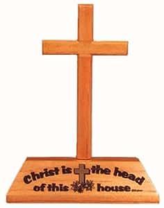 Christ est le chef de cette maison Christian bois croix crucifix bureau cadeau 12.5cm
