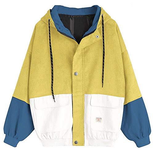 Glücklich Crewneck Sweatshirt (Damen Mantel, Lonshell Cord Farbe Patchwork Windbreaker Oversize Jacke Frühling Mantel (S, Gelb))