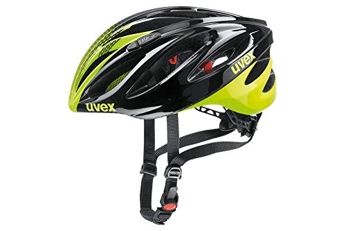 Uvex Boss Race Fahrradhelm, Black-neon-yellow, 55-60 cm
