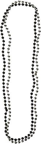 Mardi Gras Perlen, rund, klein, goldfarben One-Size schwarz/silber (Gras Mardi Schwarz Perlen)