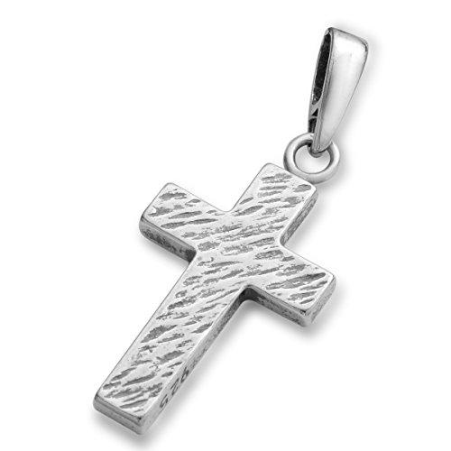 Jesus Kreuz Anhänger mit Halskette 925 Silber Damen Herren Silberkreuz mit Venezianer Kette 45cm Taufe Konformation -verschiedene Model #1751 (14 Silberkreuz)