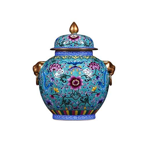 PAN Klassische feine Porzellantempel Keramik Ingwer Glas Vase, Glas mit Deckel Glas mit Deckel für Cookie Candy, Home & Office Dekor Akzent, 8,7