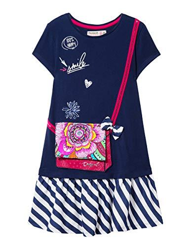 Desigual Mädchen Kleid Girl Knit Dress Short Sleeve (Vest_Carson), Blau (Navy 5000) 116 (Herstellergröße: 5/6)