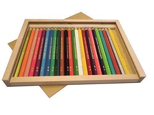 Holzschiebebox XL, gefüllt mit 24 Buntstiften (Avantgarde Riesenzauber, lackiert)
