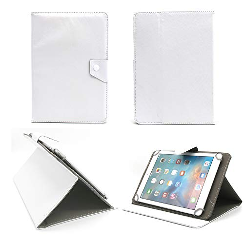 Universal tablet PC tasche 10 zoll Ultra Slim Leder Style Xeptio mit Ständer - Tasche Hülle Schutzhülle Case Cover weiß Tablet 9.2 9.4 9.7 10 10.1 10.2 zoll für Asus Google Nexus 10, Samsung Galaxy Note 10.1 N8000 / N8010 / Edition 2014 - Samsung Galaxy Tab 2 P5110 / P5100 - Galaxy Tab 3 10.1 wifi + 3g P5200 - Galaxy Tab P7510 / P7500 - Apple iPad 2, 3 und 4 Retina - iPad Air - Intenso Tab 1004 - Superpad - Blaupunkt 1000 - Captiva Pad 10 - Odys Noon / Cosmo / Iron / Leos 10 - Easypix EasyPad 970/1370 - Acer iconia A3-A10 - Tab A510 / A511 / A700 / A701 / A210 / A211 / W510 - Coby Kyros MID1125/MID1126 - Medion Lifetab S9714 / E10311 - Asus EeePad Transformer Pad TF101 / TF101G / TF300T / TF700 / TF700T - Asus MeMo Pad Full HD10 ME302 - TechniPad 10G - Siroco Tablet 10 - Ainol Novo 10 Hero - Archos 101 - Arnova 9 G2 / 10c G3 - I-ONIK TabletPC TP10.1-1500DC-metal - MEDION MD 98248 / LifeTab P9514 - Motorola Xoom 1 / 2 (simple or Media Edition) neu Sony Xperia tablet Z / SGPT121 Tablet S (Zubehör XEPTIO - weiß - PU Leder)