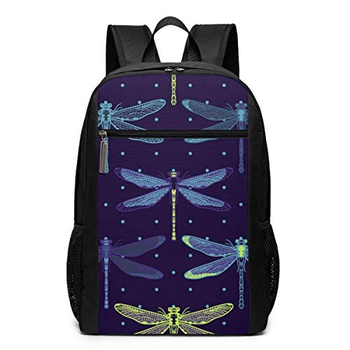 Hand Drawn Stylized Dragonflies Pattern Laptop Backpack College School Backpack 17 Inch -