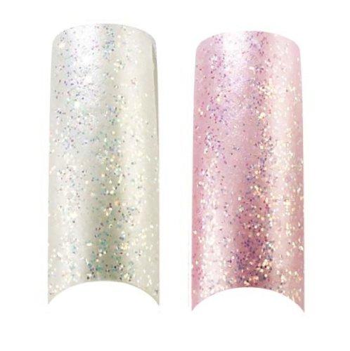 Cala X2 Lot de 100 Glace Rose et blanc perle Paillettes ongles professionnelle à pointes (87824,87823) + Kit d'ongles Aviva