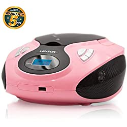 Lauson Lecteur CD et Radio FM Portable | Radio Stéréo Lecteur USB pour Musique MP3 | Radio Lecteur CD/ MP3 Prise Entrée AUX et Sortie Casque 3,5 mm et Haut-Parleurs Intégrés (Rose)