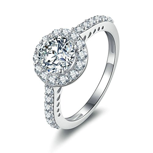 Daesar Sterling Silver Rings Womens Engagement Rings Promise Custom Ring a Round CZ Ring Size:N 1/2