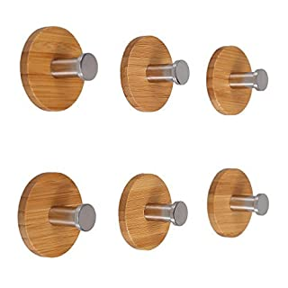 Angelbubbles Adhesive Hooks 6pcs/Pack 3M Sticker + FULL 304 Stainless Steel + Heavy Duty Bamboo (Round)