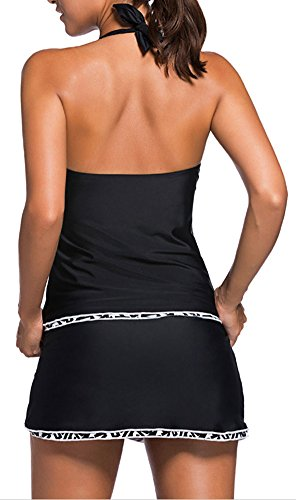 EmilyLe Damen Halterneck Bikini Set Bademode mit Röcke Plus Size Badekleid Spitze Figurformender Padded Swimsuit Schwarzweiß