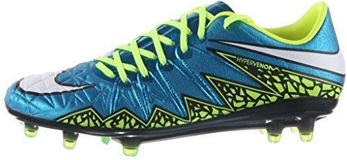 Nike Women's Hypervenom Phinish FG Soccer Cleat (Blue Lagoon, Volt, Black) Sz. 13