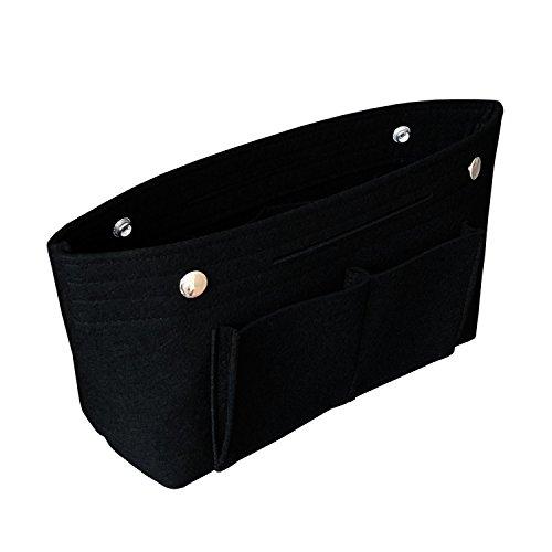 APSOONSELL Bag in Bag Handtaschen Organizer Filz, Taschen Organisator für Handtaschen, Innentaschen für Handtaschen - Schwarz - Mittel (Schwarze Handtasche Organizer)