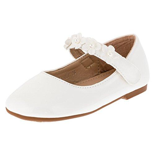 Max Shoes Festliche Kinder Mädchen Ballerinas Schuhe in Lackoptik mit Klettverschluss M269ws Weiß 23
