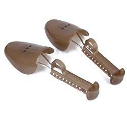 Generic 1pair Mens Shoe Trees Adjustable Plastic Shoe Tree for US Size 7-14 Brown