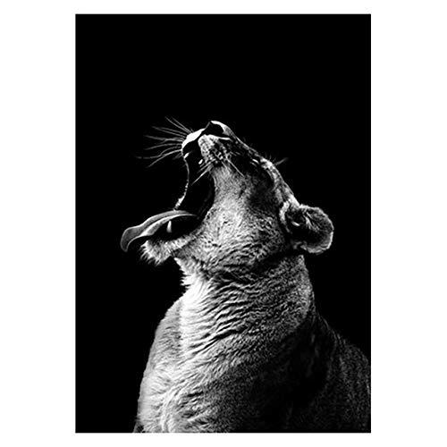 ndegdgswg Leopard Poster, schwarz und weiß Elefant Tiger Poster Kunst Wand Dekor Leinwand, Bild Wohnzimmer rahmenlose Wohnkultur 40 *60cm 2 -