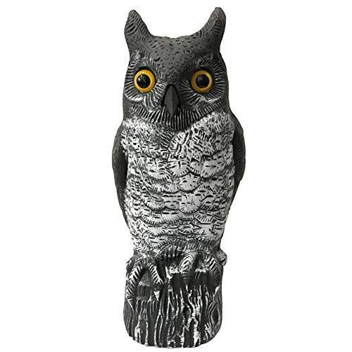 Vogelscheuche Eule Lockvogel Statue bewegliche realistische unheimlich gefälschte Eule Outdoor Pest Bird Guard, handbemalte Garten Beschützer, Angst entfernt Eichhörnchen, Tauben, Kaninchen -
