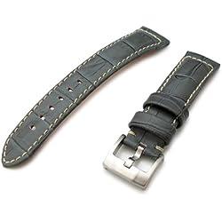 23mm CrocoCalf Light Grey Watch Strap with Beige Stitching