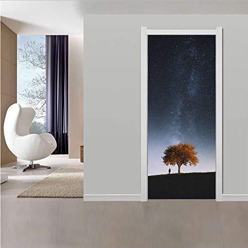 JUDFNHJ Kreative 3D Sternenhimmel Tür Aufkleber Wasserdicht Selbstklebende Wandhauptdekor Abziehbilder DIY Tür Tapete PVC Poster Großhandel - Spielkarten Großhandel