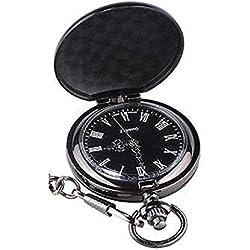 L&L® Men's Black Vintage Hollow Steampunk Mechanical Analog Quartz Pocket Watch Fob Gift