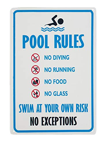Monifith Sicherheits-Warnschilder No Diving No Running No Food No Glass Swim at Your Own Rish No Exceptions Pool Rules Schild, 20,3 x 30,5 cm