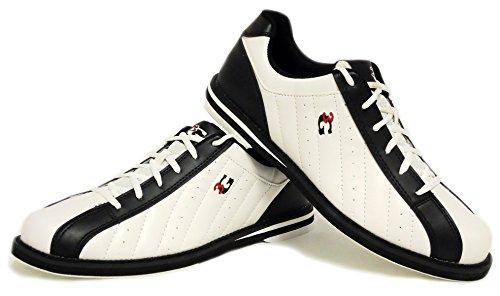 Bowling-Schuhe, 3G Kicks, Damen und Herren, für Rechts- und Linkshänder in 7 Farben Schuhgröße 36-48 (weiß-schwarz, 44 (US 11.5))