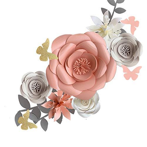 Fonder Mols 3D-Papierblumen Dekorationen für Wand (Rosa, Grau, 6er Set) für Mädchen Baby Dusche Blumen Dekoration, Mädchen Kinderzimmer Blumen Dekoration Hochzeit Tischdekoration