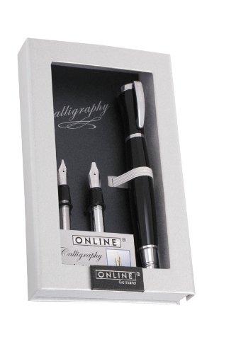 ONLINE 36829 Kalligrafie-Set Tango I Füllhalter mit 3 Kalligrafie-Federn Breite 1,1mm - 1,5mm - 1,9mm I Kalligrafie-Tintenpatronen I edles Geschenketui
