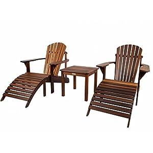 Adirondack Set, geölt (2 Gartenstühle, Beistelltisch, 2 Fußstützen), aus exklusivem Mahagoni Hartholz