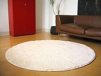 Teppich rund hochflor  Hochflor Shaggy Teppich Palace Creme Rund in 7 Größen: Amazon.de ...