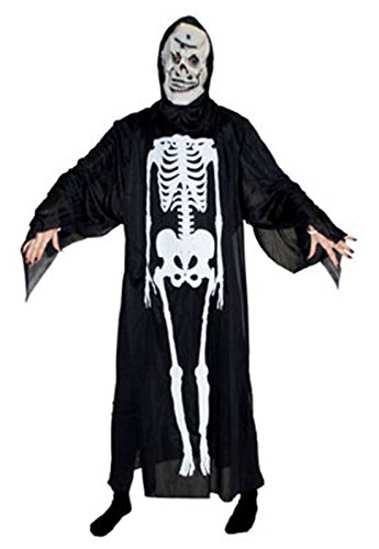 Karnevalsbud - Herren Halloween Karneval Kostüm Umhang, Geist Robe Skelett Scream mit Maske, One Size, Schwarz (Grau Skelett Sensenmann Robe Für Kinder)