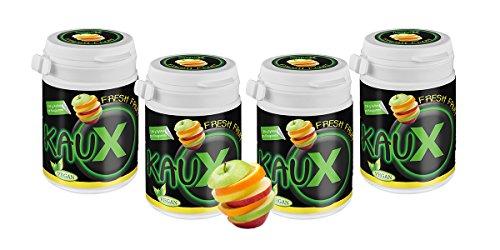 kauX Xylitol Zahnpflege-Kaugummi ohne Aspartam, 4'er Pack Fresh Fruit (60g=40 Stück pro Dose)