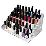 Organizador de esmalte uñas 5 niveles con tornillos de plástico - Soporte de esmalte uñas acrílico (36cm x 20cm x 19cm) - Soporte almacenamiento capacidad de 35 botellas tamaño estándar
