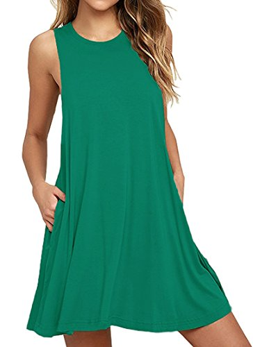 HAOMEILI Damen Langarm Stretch Casual Loose T-Shirt Kleid (L(EU 40), Dunkelgrün)