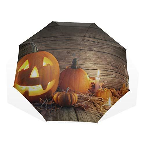 Reiseregenschirm Halloween Kürbis Mit Brennenden Kerzen Anti Uv Compact 3-Fach Kunst Leichte Faltschirme (Außendruck) Winddicht Regen Sonnenschutzschirme Für Frauen Mädchen Kinder