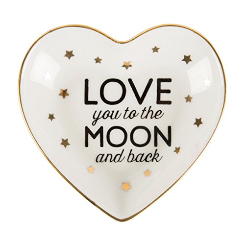 """Porzellan Schmuckteller \""""Love you to the moon and back\"""" mit goldenen Sternchen"""