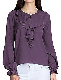 VJGOAL Mujeres otoño Casual Moda Gasa Camiseta de Color sólido Office Ruffle Manga Larga Blusa Top