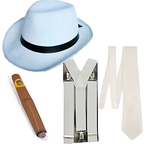 Gangster Fancy Dress 4 Stück Kostüm (Weiß)