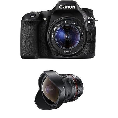 Canon EOS 80D SLR-Digitalkamera (24,2 Megapixel, 7,7 cm (3 Zoll) Display, DIGIC 6 Bildprozessor, NFC und WLAN, Full HD) Kit inkl. EF-S 18-55mm 1:3,5-5,6 IS STM, schwarz + Walimex Pro 8 mm 1:3,5 DSLR Fish-Eye II Objektiv für Canon EF-S Objektivbajonett schwarz (mit abnehmbarer Gegenlichtblende)