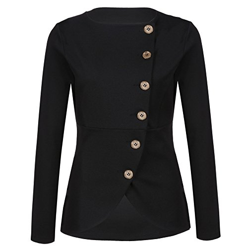 Meaneor Damen Knopf Business Jacke Blazer Übergangsjacke Military Jacke Slim Fit Mantel Reverskragen Asymmetrisch (Ein-knopf-blazer-jacke)