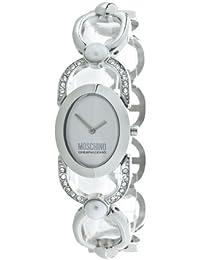 Moschino MW0095 - Reloj analógico de cuarzo para mujer con correa de metal, color plateado