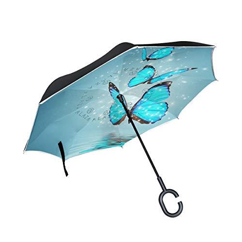 Blauer magischer Schmetterling über Wasser umgekehrte Regenschirme doppellagig leuchtende Tiere fliegen auf Flügeln, Regenschirm, Winddicht, UV-Schutz, nicht automatisch, groß, gerade, Kopf, C-förmiger Griff für Auto ()
