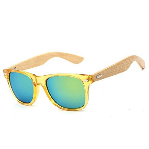 HALORI UV400 Bamboo Sonnenbrille - Unisex Retro Holzoptik Brille - Klassische Holztöne Damen Herren - Brillen mit Etui Polarisierte Gläser (Farbe : D)