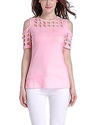 Mena UK Vintage de las mujeres sin tirantes delgado manga corta camiseta elegante ( Color : Pink , Tamaño : XL )