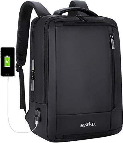 MOSFiATA Laptop Rucksack, Business Rucksack aus Flexibler Baumwolle, Daypack Wasserdicht, Schultasche mit 15,6 Zoll Laptopfach, USB-Ladeanschluss, Trolley-Fixiergurt (Notebook Zum Verkauf)