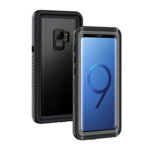 Lanhiem Wasserdichte Hülle Kompatibel mit  Galaxy S9 Samsung, [IP68 Zertifiziert Wasserdicht] Handy Hülle, Stoßfest Staubdicht und Unterwasser Outdoor Schutzhülle, Schwarz + Grau