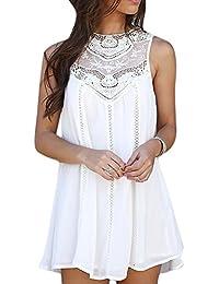 MIOIM® Vestido de mujer sin manga gasa y costura cuello ronda verano de la playa vestido