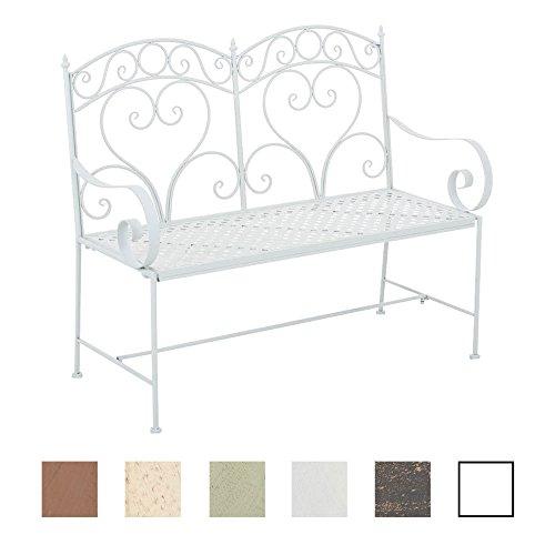 CLP Gartenbank SALIM im Landhausstil, aus lackiertem Eisen, 107 x 50 cm - aus bis zu 6 Farben wählen Weiß