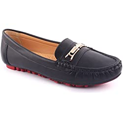 Unze Neue Damen 'Leone' Metall Detail Büro Arbeit Schule Casual Mokassin Pumps flache Schuhe UK Größe 3-8 - 13Q238-5