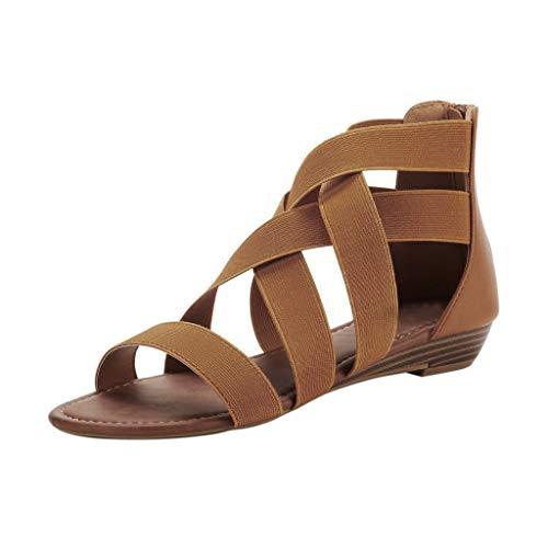 sandalen mädchenSummer Cross Elastic Strap Ankle Wedges Römersandalen flache Schuhe(36, Braun) - Criss Cross Wedge